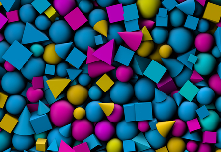 3d illustration texture with geometric shapes, cones, cubes and spheres Stock Photo