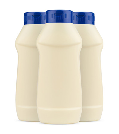 no label: Front view of three cream mayonnaise plastic bottles with no label and blue cap on white background
