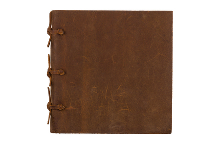 marca libros: top view of closed notebook with leather brown and bindings cover isolated on white background Foto de archivo