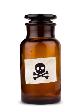 front view of brown medical glassware with glass cap and the poison label sign isolated on white background