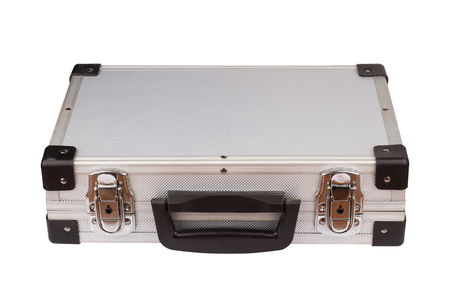 horizontal top view of closed silver metal aluminum suitcase isolated on white background
