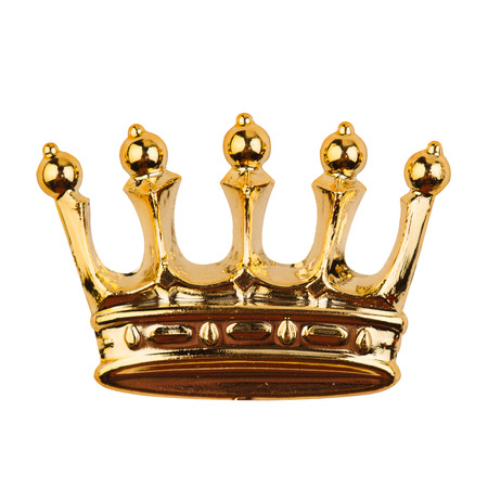 top view of golden crown isolated on white background