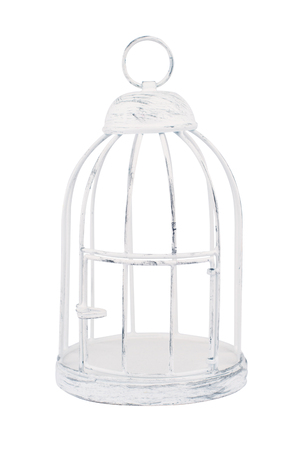 Vintage metallic bird cage isolated on white background