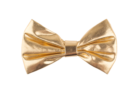 golden shinny bow tie isolated on white background