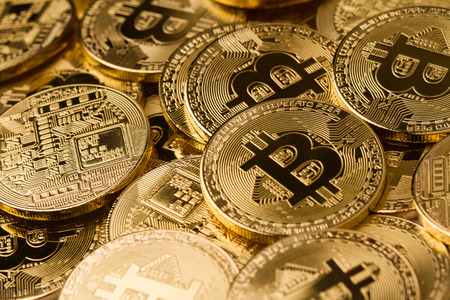 horizontal top view pile of many golden bitcoins background texture Фото со стока