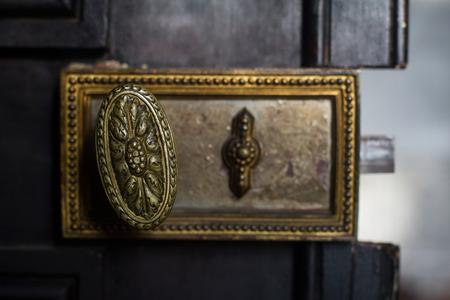 Front View Detail Closeup Of Old Vintage Golden Handle Door Lock ...