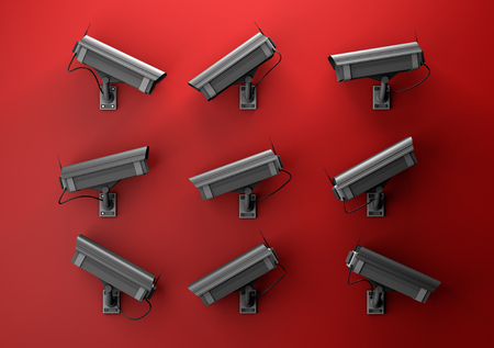 3d illustration of data protection technology privacy concept with many surveillance cameras on a red wall pointing in different directions