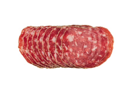 top view of smoked pork salami chorizo sausages slices  isolated on white background 写真素材