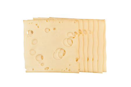 top view closeup of square cheese maasdam smoked slices with holes isolated on white background Stok Fotoğraf