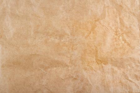 Nahaufnahme der braunen zerknitterten Packpapier Hintergrundtextur