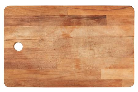 Vista superior de cerca de madera usada cocina cortar madera aislado sobre fondo blanco