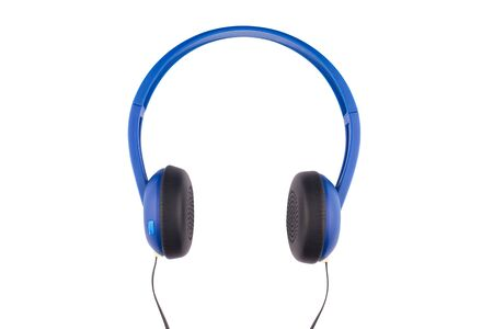 front view closeup of black and blue headphones isolated on white background