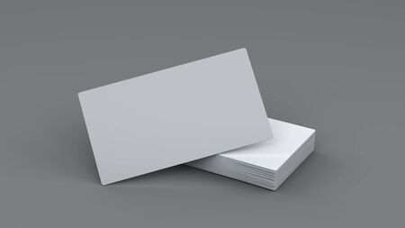 3d illustration horizontal closeup of blank white business cards stack for mockup or template design on grey background