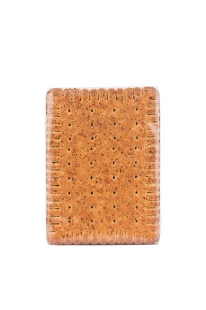 front view closeup of square shaped whole grain pack of brown biscuit in transparent plastic packaging isolated on white