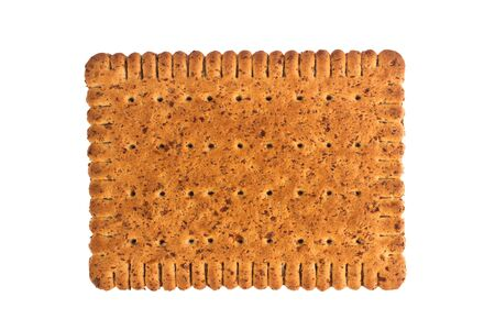 closeup texure of square shaped wholegrain brown biscuit isolated on white