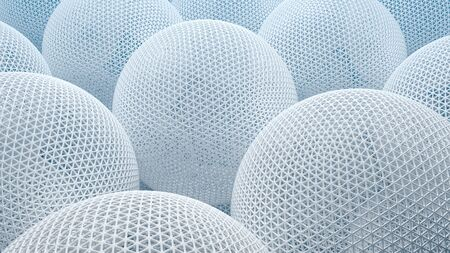 3d illustration closeup of white abstract geometric spheres with detailed triangle geometry technology background