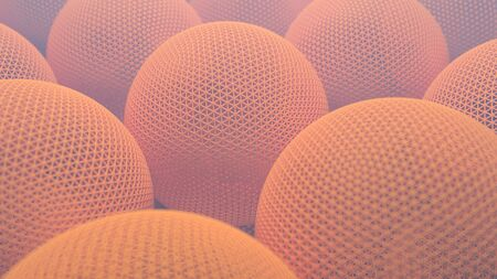 3d illustration closeup of orange abstract geometric spheres with detailed triangle geometry technology background with shallow depth of field