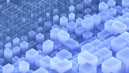 isometric 3d illustration of abstract geometric translucent blue cubic shapes pattern background
