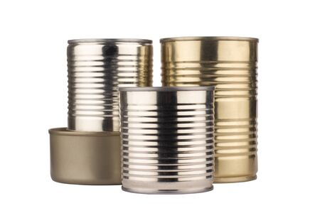 front view closeup of shiny metallic set of tin cans for food of different sizes isolated on white background
