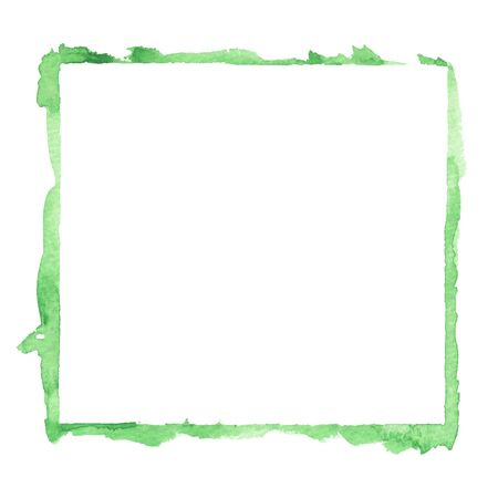 closeup of empty painted green square watercolor frame design element isolated on white background