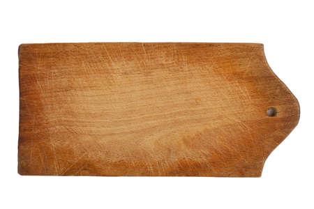 front view closeup of old kitchen wooden cutting board texture with knife marks and scratches isolated on white background