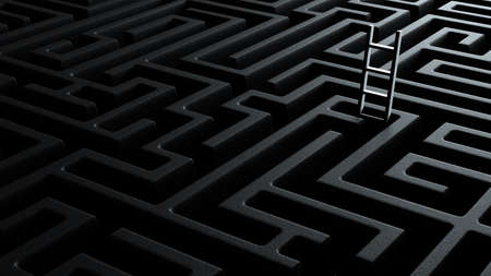 perspective view 3d illustration concept of stairs coming out of a black infinite labyrinth stretching to the horizon