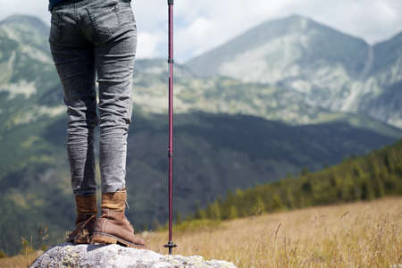 rear view of a Caucasian woman with hiking stick standing on a large stone and enjoying the view of the high summit mountains ahead on a cloudy day