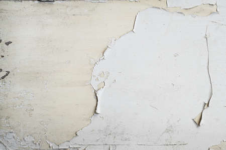 front view closeup of wooden timber plank with white peeling paint background texture Banco de Imagens