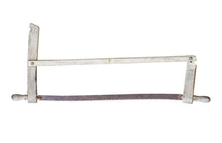 front view closeup of old wooden saw with rusted iron blade isolated on white background Imagens