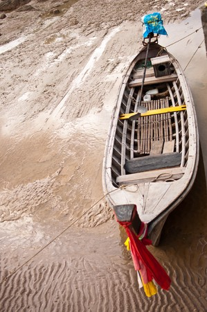 longtail: Longtail boat on the sand,Thailand