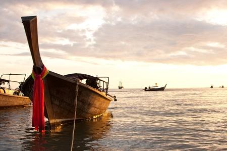 longtail: Longtail boat at sutset, Krabi ,Thailand