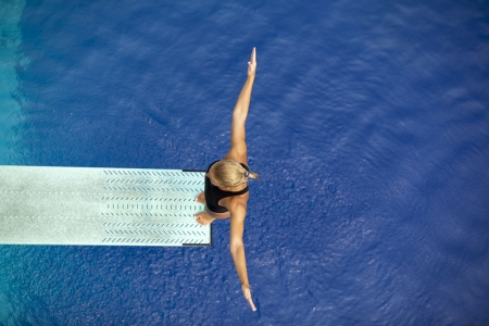 free diving: springboard diver  Stock Photo