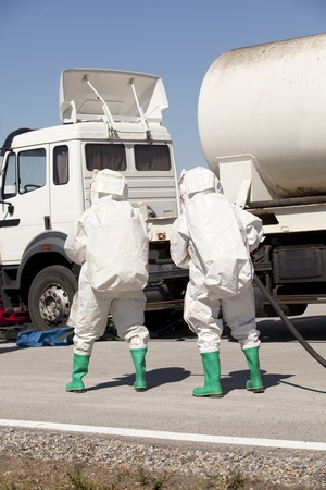 spills: chemical spill after road accident Stock Photo