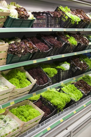 lettuce section in a grocery store Stock Photo