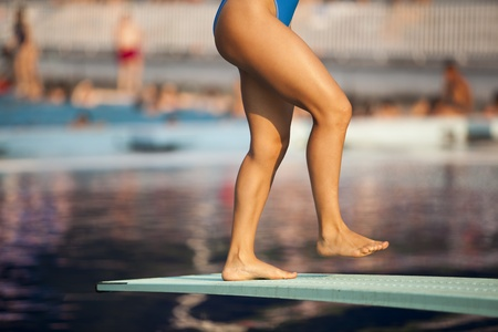 free diver: ready to jump