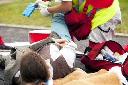 sports injury first aid Stock Photo