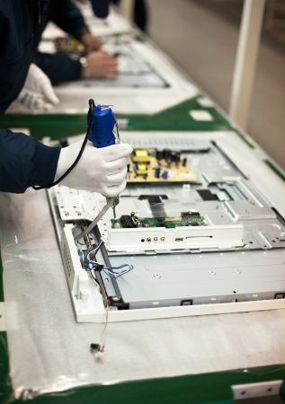 production line: electronic industry assembly line Stock Photo