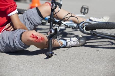 accidente transito: ca�da de la bicicleta Foto de archivo