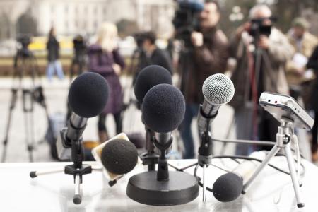 reportero: conferencia de prensa Foto de archivo