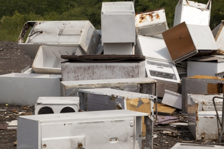 recycling center: old appliances at the landfill