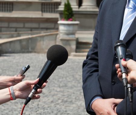 relaciones publicas: medios entrevista Foto de archivo
