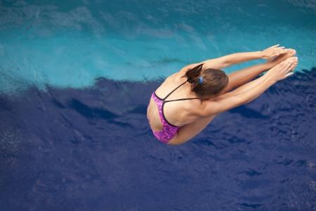pool diving: diving board jump