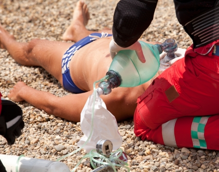 reanimation: first aid for drowning Stock Photo