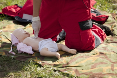 reanimate: infant dummy first aid Stock Photo