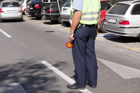 traffic police: police officer doing a traffic control