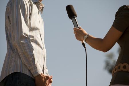 reportero: medios entrevista Foto de archivo