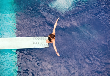 free diving: preparing to dive into a swimming pool