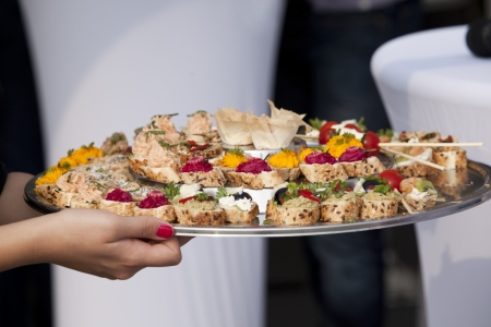 party tray: platter with food