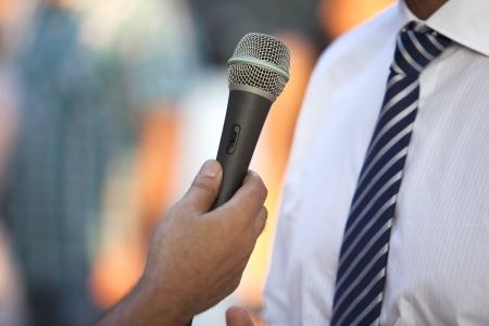hablar en publico: medios entrevista Foto de archivo