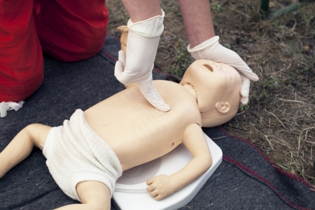 cardiopulmonary: infant dummy first aid Stock Photo